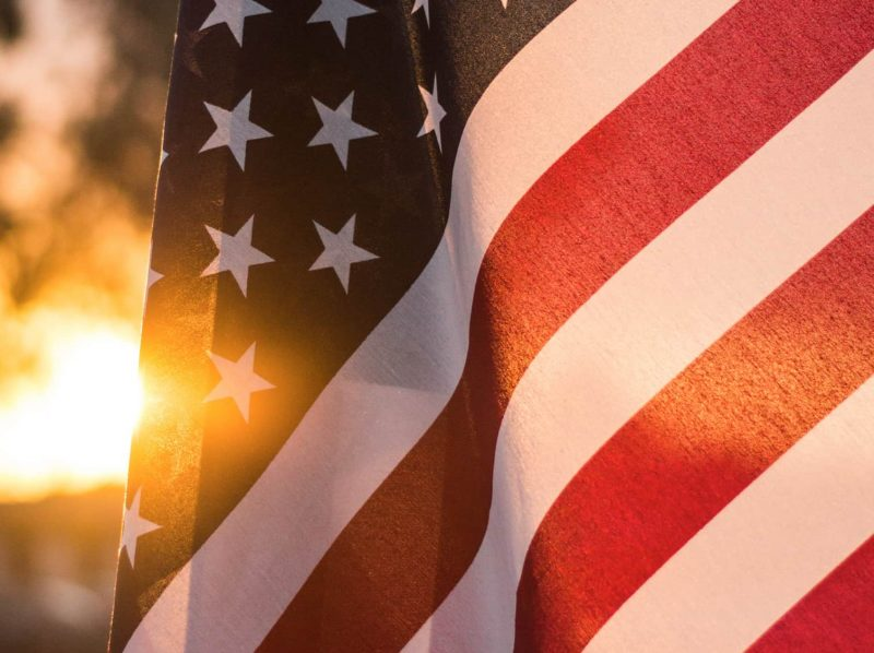 American Flag in afternoon light