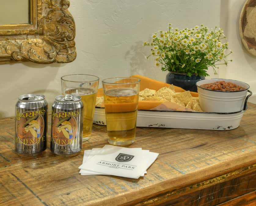 Beer and chips served for Armory Hour at the Armory Park Inn