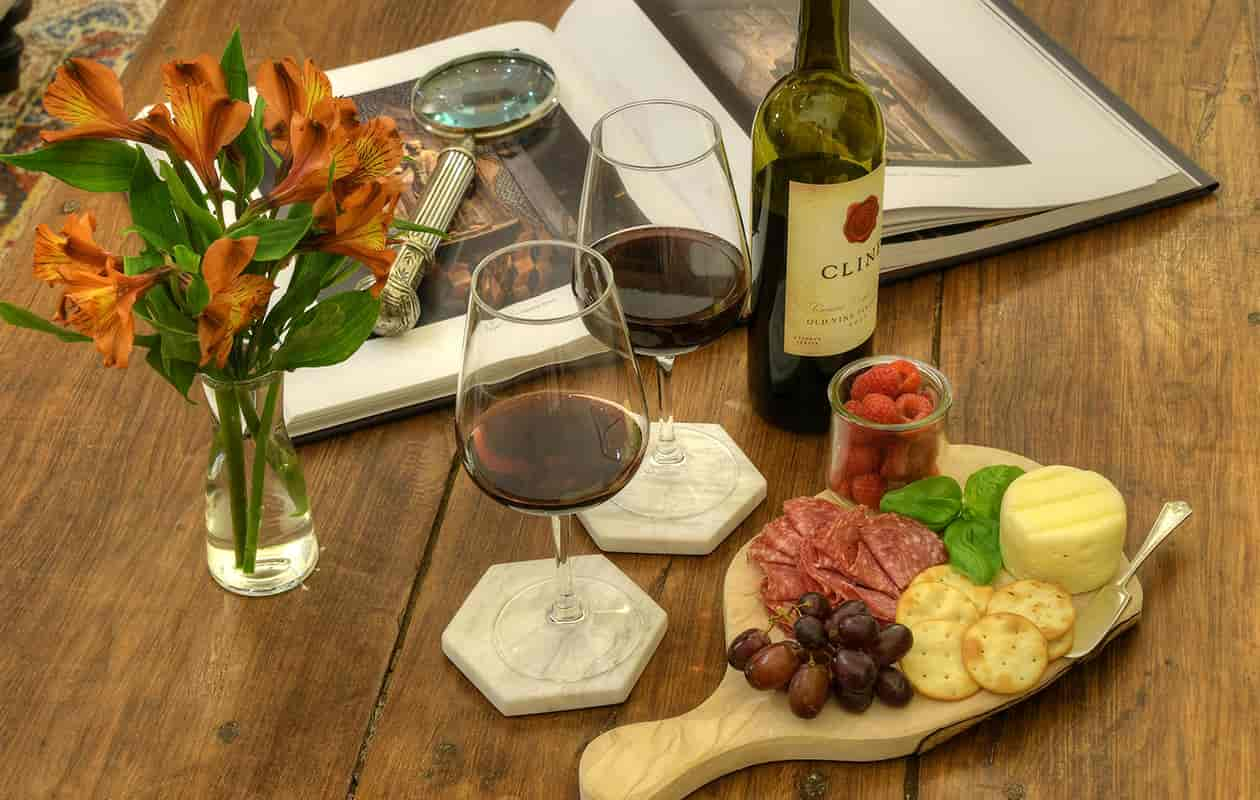 Wine, cheese, crackers, charcuterie and fruit