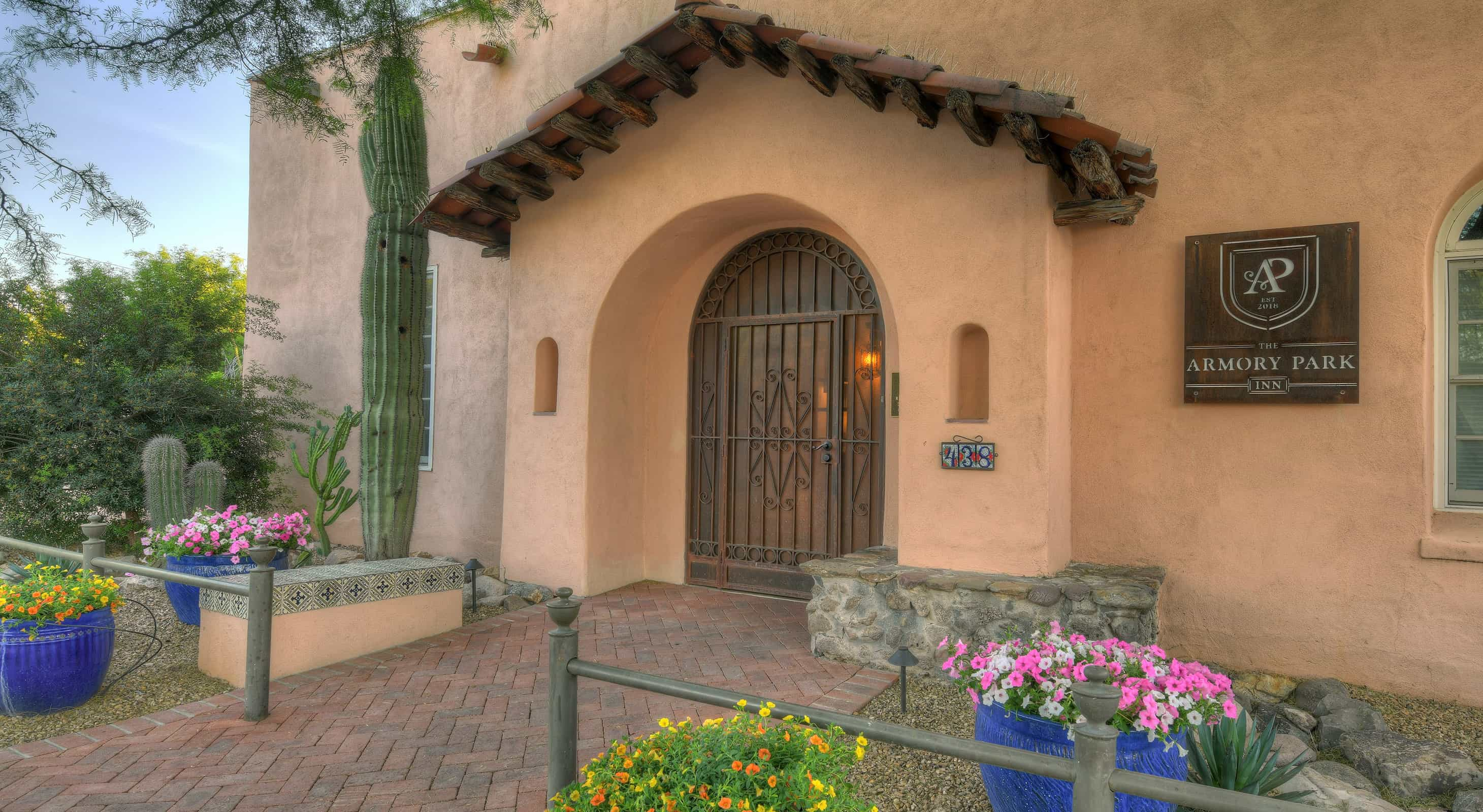 Adobe style front entrance of our historic Tucson inn