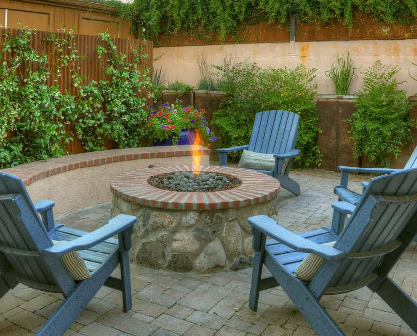Outdoor stone firepit at the Armory Park Inn
