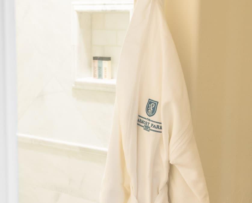 Luxurious cotton robe with Armory Park Inn logo