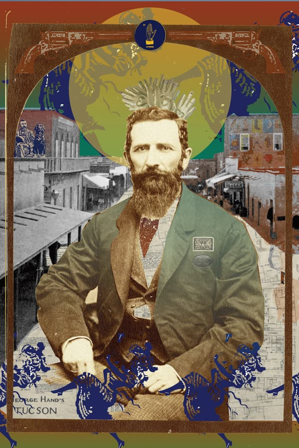 A decorative collage of George O Hand